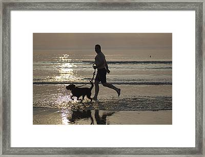 Denmark, Romo, Silhouette Of Man Framed Print by Keenpress