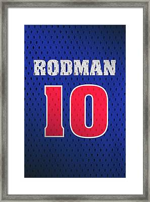 Dennis Rodman Detroit Pistons Number 10 Retro Vintage Jersey Closeup Graphic Design Framed Print