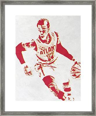 Dennis Schroder Atlanta Hawks Pixel Art Framed Print by Joe Hamilton
