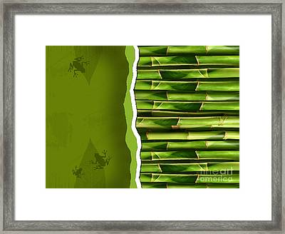 Dense Bamboo Stalk With Copyspace Framed Print by Sandra Cunningham