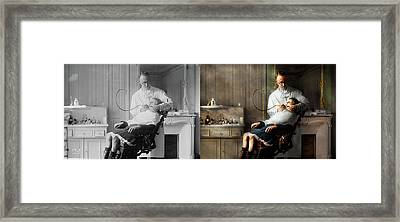 Framed Print featuring the photograph Dentist - Good Oral Hygiene 1918 - Side By Side by Mike Savad