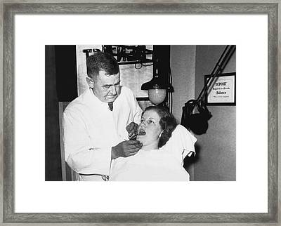 Dentist Has Cure For Pyorrhea Framed Print by Underwood Archives