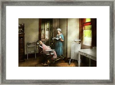Framed Print featuring the photograph Dentist - Patients Is A Virtue 1920 by Mike Savad