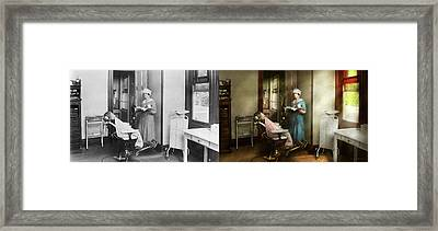 Framed Print featuring the photograph Dentist - Patients Is A Virtue 1920 - Side By Side by Mike Savad
