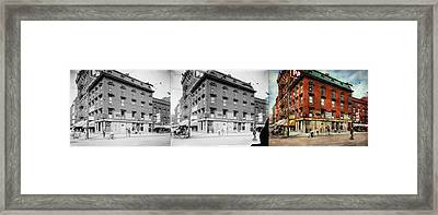 Framed Print featuring the photograph Dentist - Peerless Painless Dental Parlors 1910 - Side By Side by Mike Savad