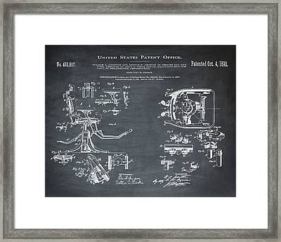 Dentists Chair Patent 1892 In Chalk Framed Print by Bill Cannon