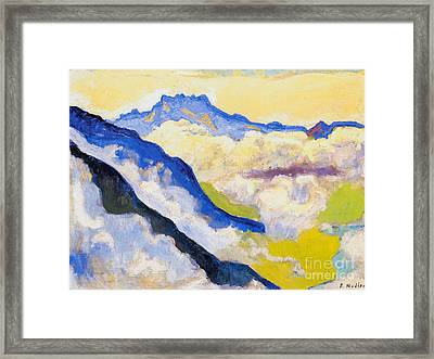 Dents Du Midi In Clouds Framed Print by Celestial Images