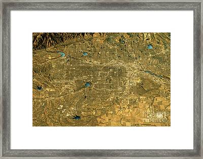 Denver 3d Landscape View East-west Natural Color Framed Print