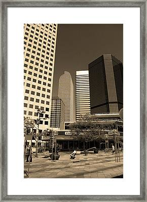 Framed Print featuring the photograph Denver Architecture Sepia by Frank Romeo