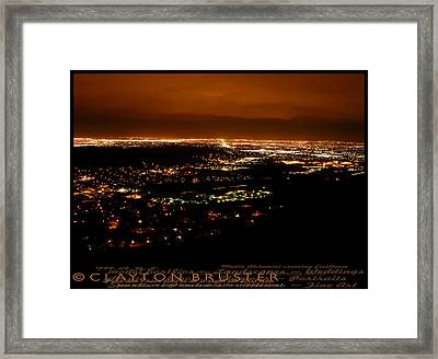 Denver Area At Night From Lookout Mountain Framed Print