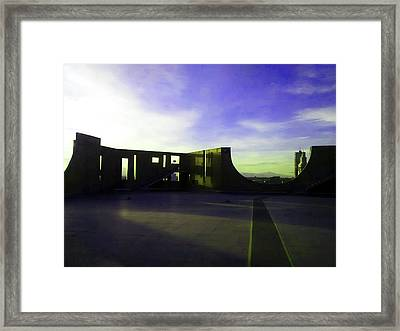 Framed Print featuring the photograph Denver Art Museum Deck 1 by Marilyn Hunt