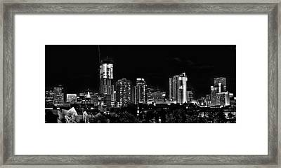 Denver At Night In Black And White Framed Print by Kevin Munro