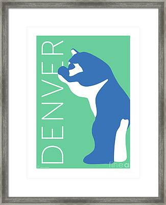 Denver Blue Bear/aqua Framed Print