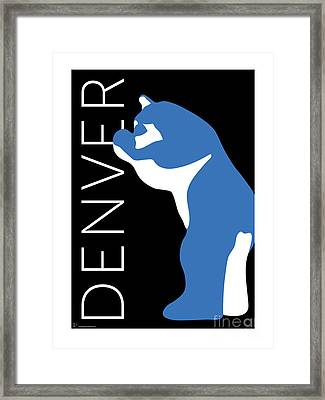 Denver Blue Bear/black Framed Print
