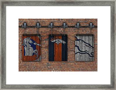 Denver Broncos Brick Wall Framed Print