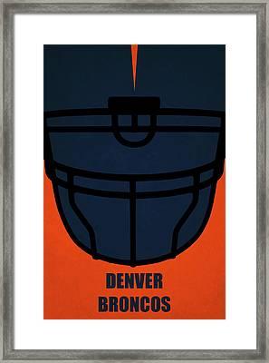 Denver Broncos Helmet Art Framed Print by Joe Hamilton