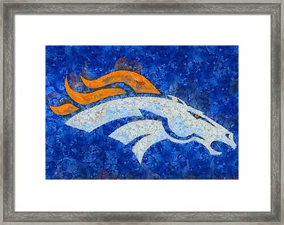 Denver Broncos Painted Logo Framed Print