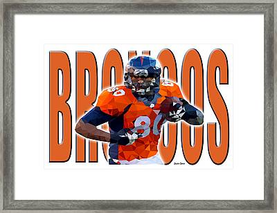 Framed Print featuring the digital art Denver Broncos by Stephen Younts