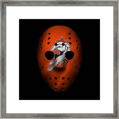 Denver Broncos War Mask 2 Framed Print by Joe Hamilton