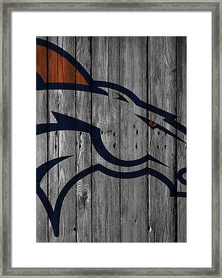 Denver Broncos Wood Fence Framed Print by Joe Hamilton
