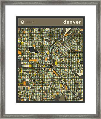Denver City Map Framed Print