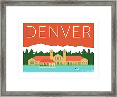 Denver City Park/coral Framed Print