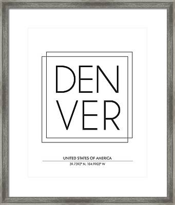 Denver City Print With Coordinates Framed Print