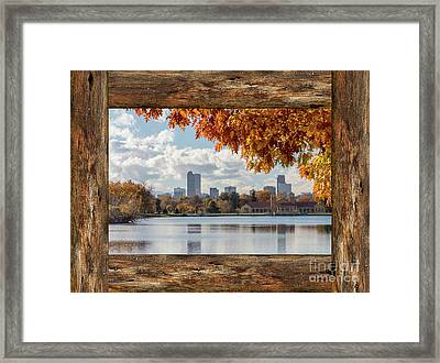 Denver City Skyline Barn Window View Framed Print