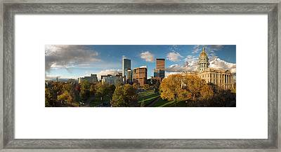 Denver, Colorado, Capitol Skyline Panoramic Framed Print by Steve Mohlenkamp