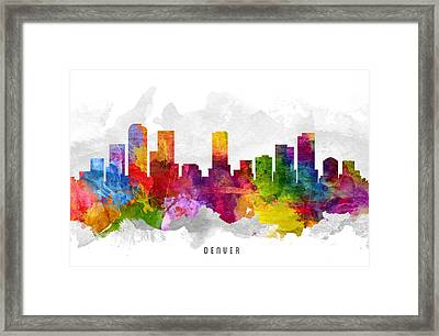 Denver Colorado Cityscape 13 Framed Print by Aged Pixel