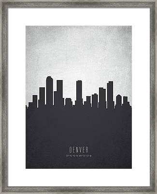 Denver Colorado Cityscape 19 Framed Print by Aged Pixel