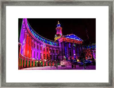 Denver Colorado Holiday Lights Framed Print