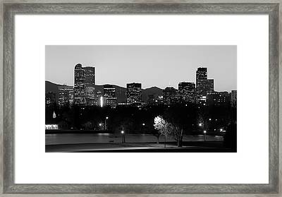 Framed Print featuring the photograph Denver Colorado Mountain Skyline Black And White by Gregory Ballos