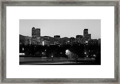 Denver Colorado Mountain Skyline Black And White Framed Print