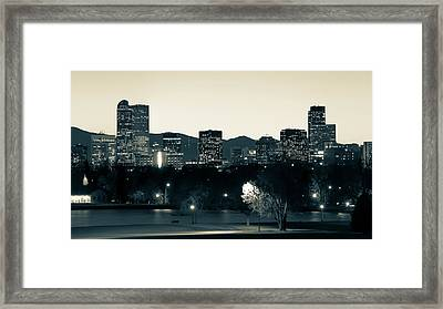 Framed Print featuring the photograph Denver Colorado Mountain Skyline In Sepia by Gregory Ballos