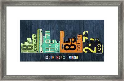 Denver Colorado Recycled Vintage License Plate Art City Skyline Framed Print by Design Turnpike