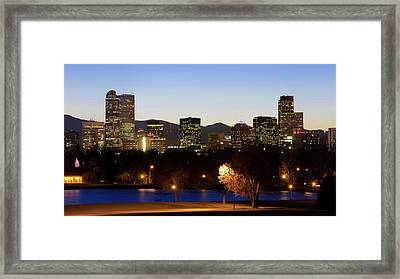 Framed Print featuring the photograph Denver Colorado Skyline Blues by Gregory Ballos