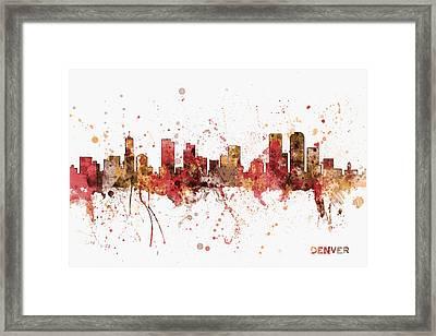 Denver Colorado Skyline Cityscape Framed Print
