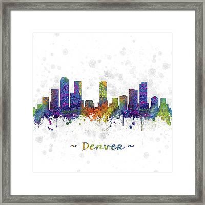 Denver Colorado Skyline Color 03sq Framed Print by Aged Pixel