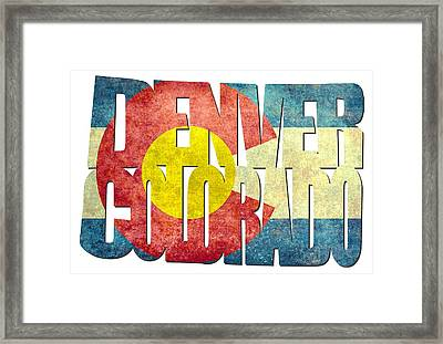 Denver Colorado Typography - State Flag Framed Print by Gregory Ballos