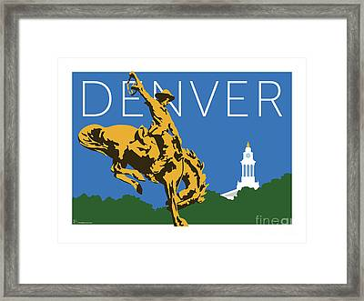 Denver Cowboy/dark Blue Framed Print