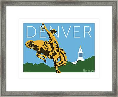 Denver Cowboy/sky Blue Framed Print