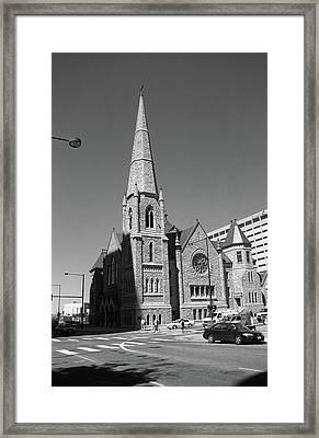 Denver Downtown Church Bw Framed Print by Frank Romeo