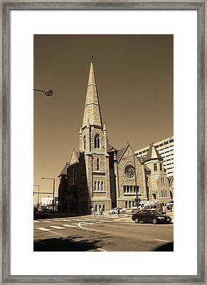 Framed Print featuring the photograph Denver Downtown Church Sepia by Frank Romeo