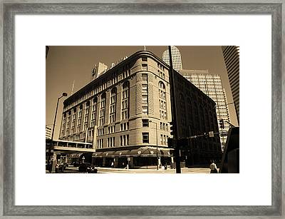 Framed Print featuring the photograph Denver Downtown Sepia by Frank Romeo