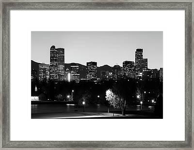 Denver Downtown Skyline - Mile High City - Black White Framed Print by Gregory Ballos
