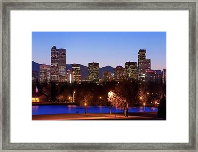 Denver Downtown Skyline - Mile High City Framed Print by Gregory Ballos
