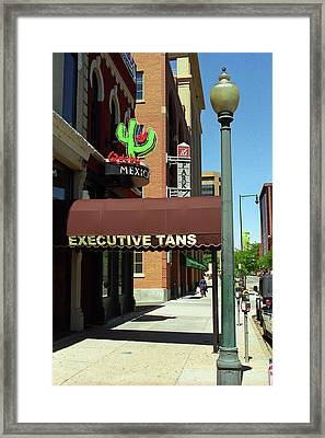 Framed Print featuring the photograph Denver Downtown Storefront by Frank Romeo
