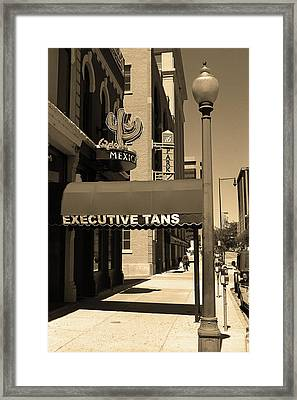 Framed Print featuring the photograph Denver Downtown Storefront Sepia by Frank Romeo