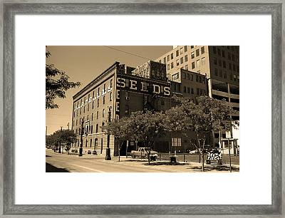 Framed Print featuring the photograph Denver Downtown Warehouse Sepia by Frank Romeo